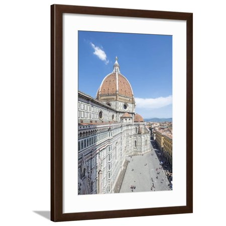 The ancient Duomo di Firenze built with polychrome marble panels and Brunelleschi's Dome, Florence, Framed Print Wall Art By Roberto