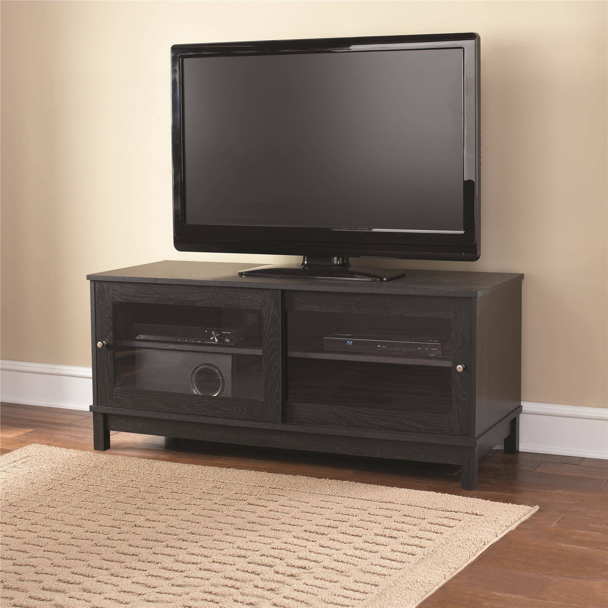 "Mainstays 55"" TV Stand with Sliding Glass Doors, Black Ebony Ash"