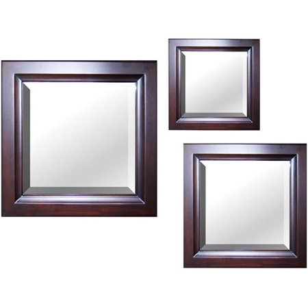 set of 3 square mirrors mahogany finish. Black Bedroom Furniture Sets. Home Design Ideas