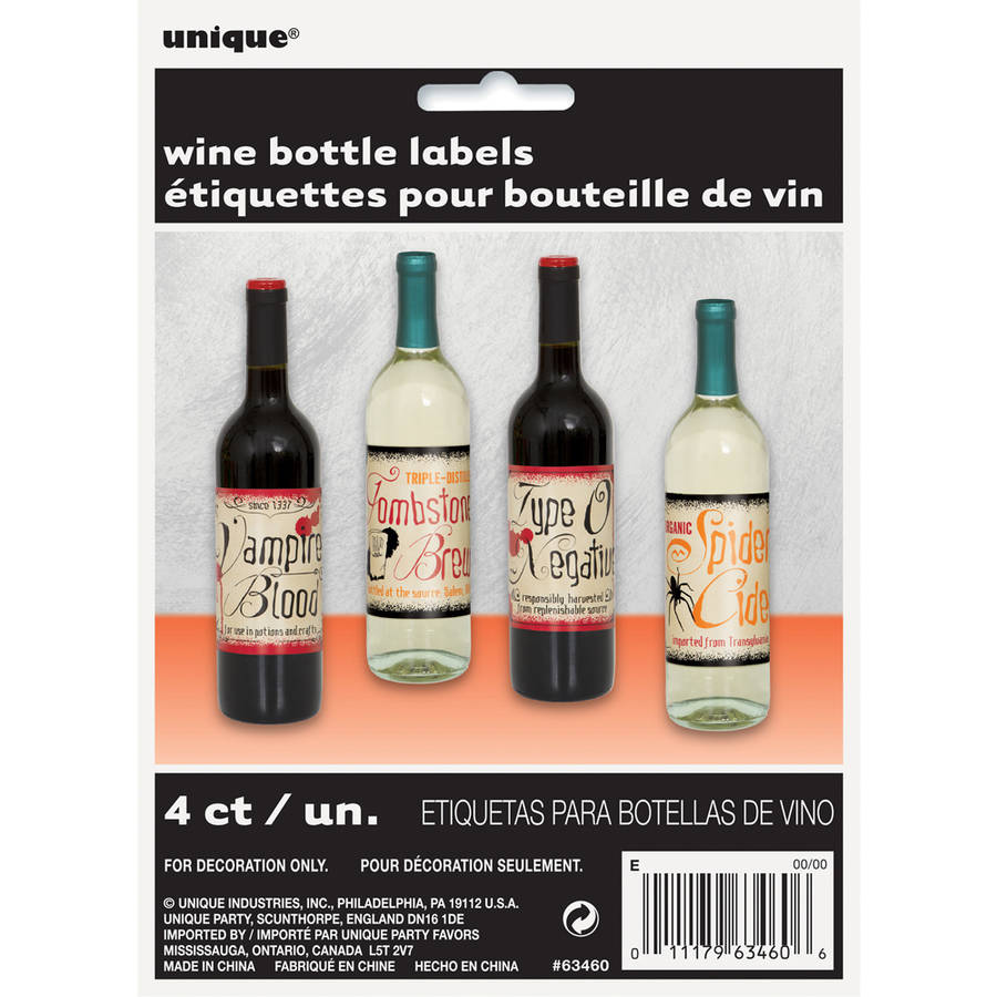 Vintage Halloween Wine Bottle Labels, 4-Count