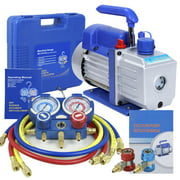 ZENSTYLE 4CFM Vacuum Pump VALVES MANIFOLD GAUGE R410A R134A R22 HVAC AC Refrigerant Set