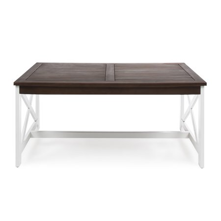 Ismus Outdoor Acacia Wood Coffee Table with a White Base, Dark Brown Cedar Outdoor Coffee Table