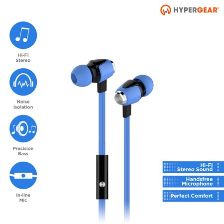 HyperGear Blue dBM Wave Earphones w/Mic 3.5mm