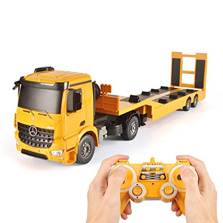 (Fistone RC Truck Licensed Mercedes-Benz Acros Detachable Flatbed Semi-Trailer Engineering Tractor Remote Control Low Loader Die-Cast Car Model Kids Electronics Hobby Toy with Sound and Light Effect)