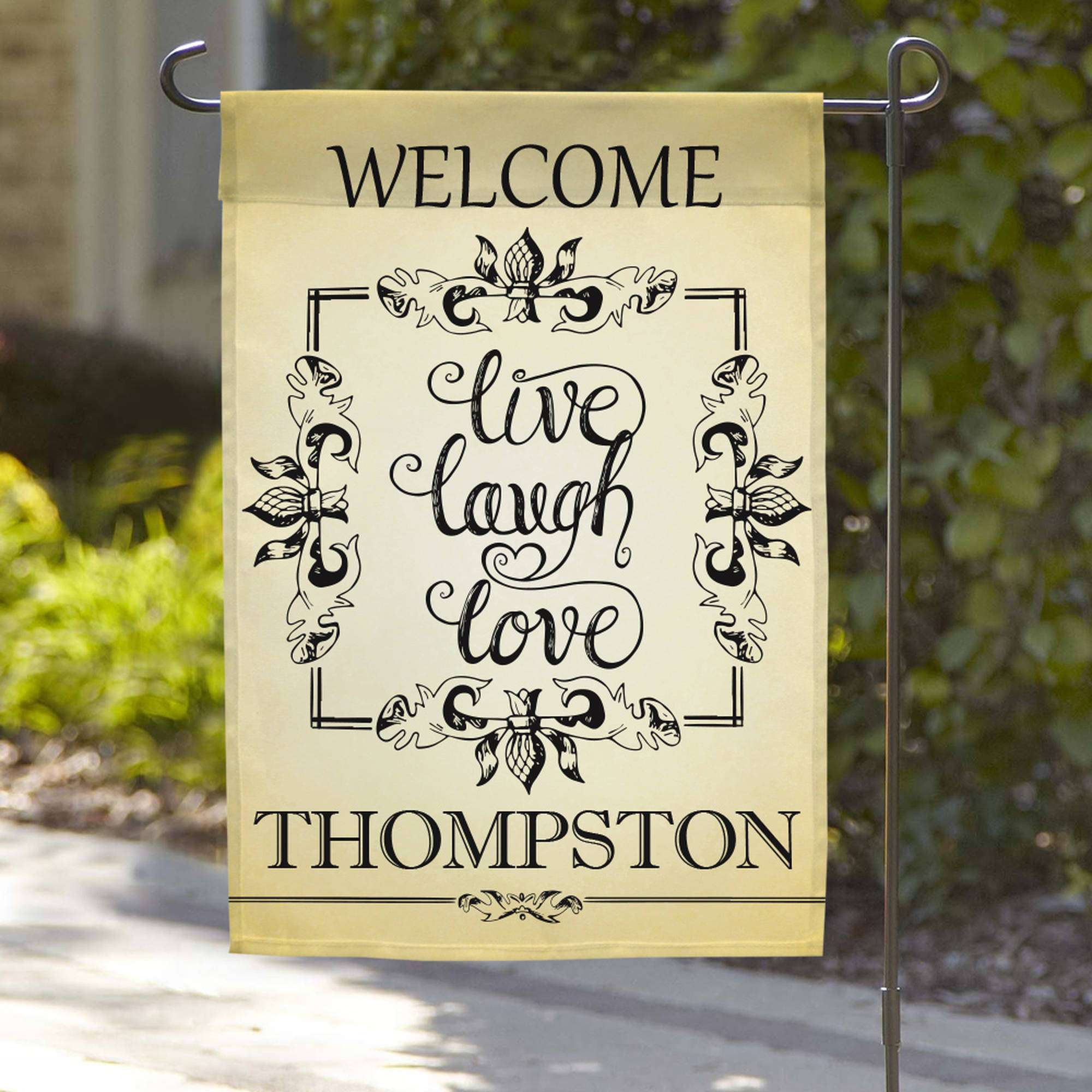 "Personalized Live Laugh Love Welcome Garden Flag, 18"" x 12"""