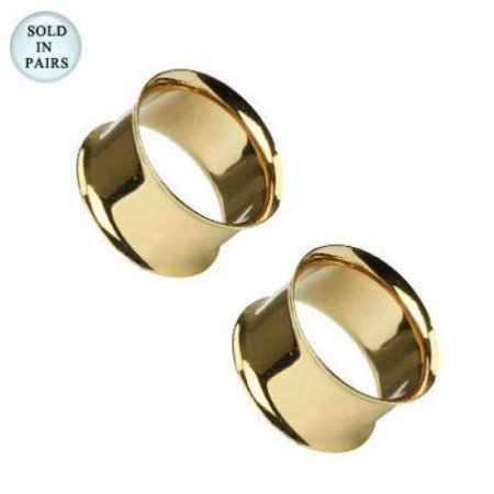 Gold Flesh Tunnels Ear Plugs Tunnels Pair of Double Flared