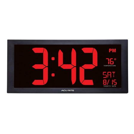 Black Indoor Clock - 18-inch Jumbo Digit Calendar Clock with Indoor Temperature