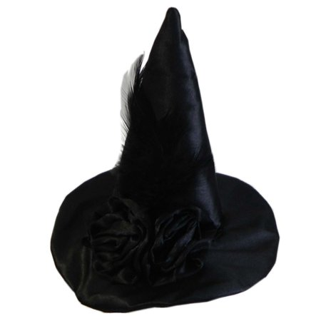 Womens Mini Pointy Witch Headband Black Roses Feather Costume Accessory Hat Cap - Costume Witch Hat