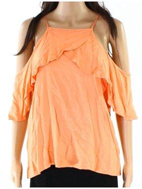 c99120c524a8e8 Product Image Ella Moss NEW Orange Women Size Large L Flutter Cold Shoulder  Knit Top