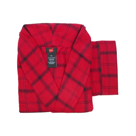 Hanes Men's Cotton Flannel Robe with Pockets, , Size: Medium Large New Red Plaid