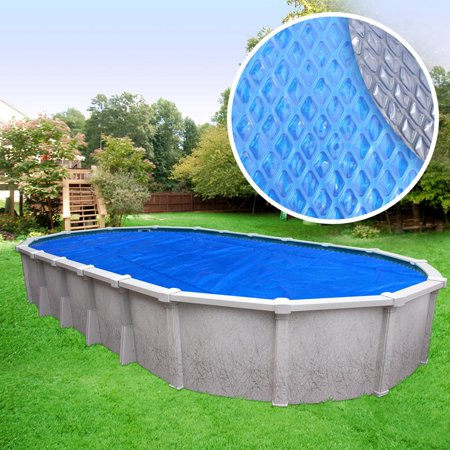12' Oval Metal Diamond - Heavy-Duty Space Age Diamond Oval Solar Cover Pool Blanket, 12 x 24 ft.