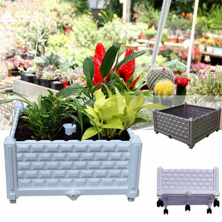 Planter Boxes Diy (Home & Garden Plastic Planting Box Planter Flower Raised Garden Bed DIY Assembly Pot Container For Backyard Porch Home Decoration With)