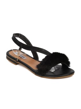 aa12c79bdc6f Product Image New Women Cape Robbin Leela-2 Mixed Media Open Toe Furry  Slant Strap Flat Sandal