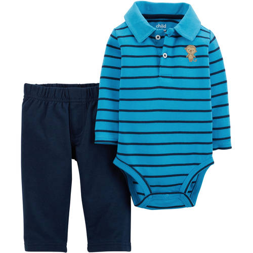 Child of Mine by Carter's Newborn Baby Boy Collared Bodysuit and Pantset Set