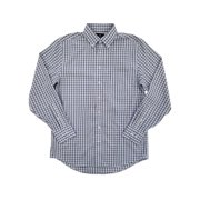 Mens Brown Double Plaid Executive Pinpoint Oxford Button-Down Shirt