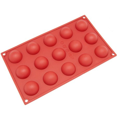 Card Mini Snap Pro Mold - Freshware 15-Cavity Mini Half Sphere Silicone Mold for Chocolate, Candy and Gummy, SM-100RD