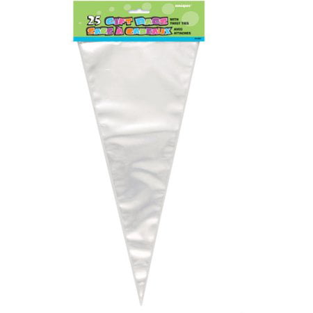 (3 Pack) Cone Shaped Cellophane Bags, 15 x 7 in, Clear,