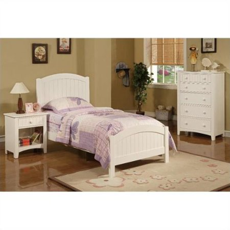 poundex 3 piece kids twin size bedroom set in white finish