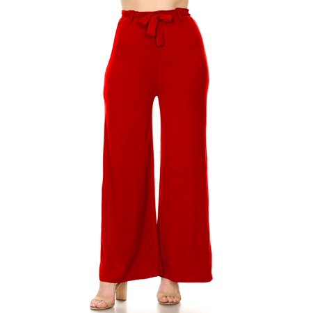 MOA COLLECTION Women's Solid Casual Stretch Knit Elastic Waist tie Belt Wide Leg Pants