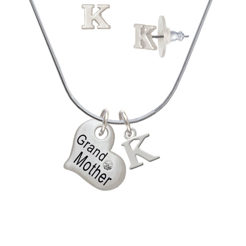 Large ''Grandmother'' Heart with Clear Crystal - K Initial Charm Necklace and Stud Earrings Jewelry Set