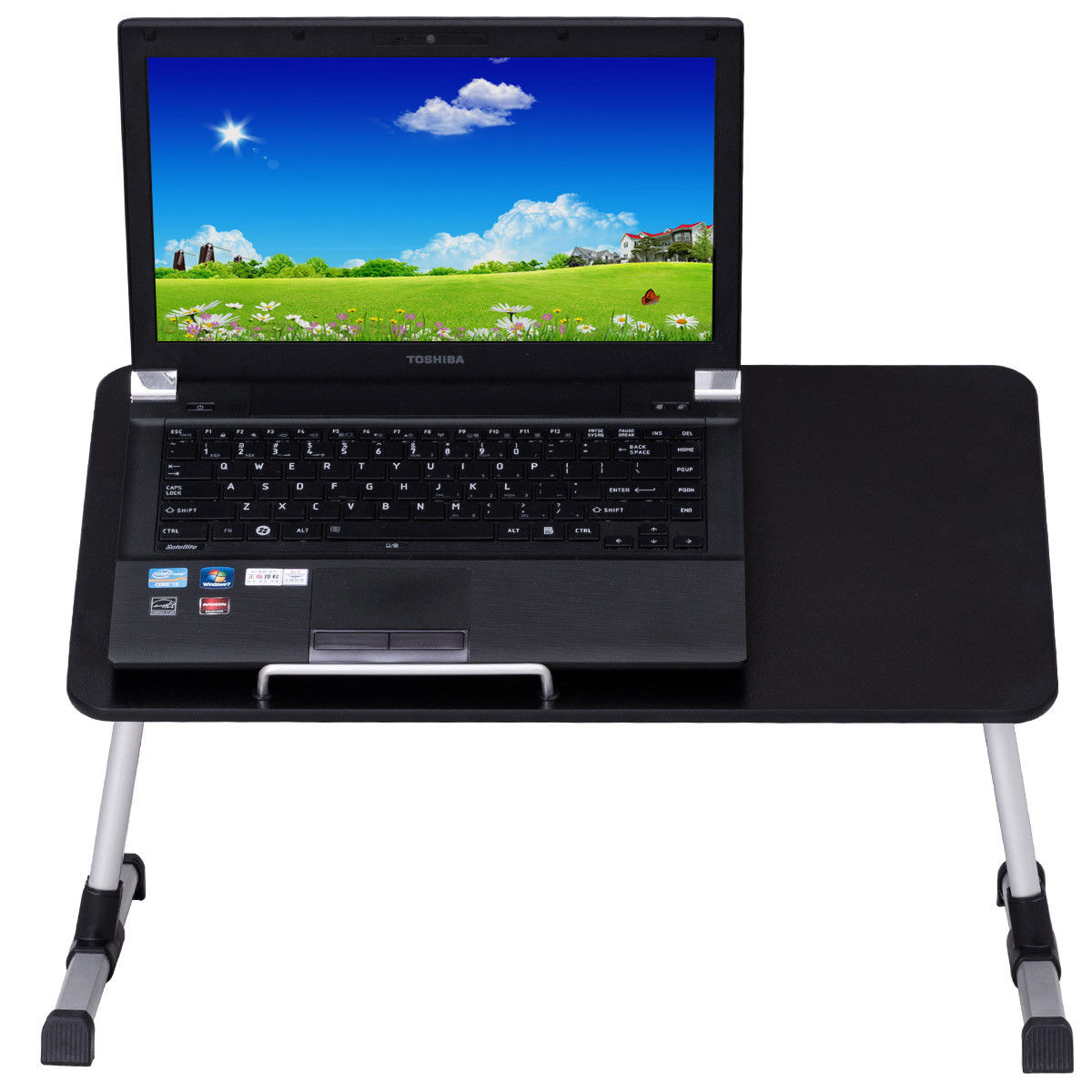 Goplus Portable Adjustable Standing Laptop Bed Tray Table Desk w/ Cooling Fan Black
