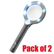 iMBAPrice SuperBright 6 Leds Light with 4x Magnifying Glass + 2AA Batteries Included- Black (Pack of 2)