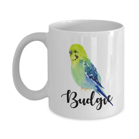 Cute Parakeet Budgie Painting Print Coffee & Tea Gift Mug Cup, Accessories, Supplies, Things, Merchandise And Novelty Gifts For Bird Lover Men & Women (Cute Cups)