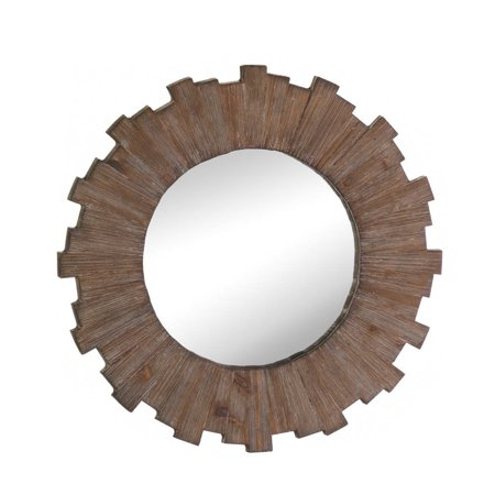 Round Mirror Wall Art, Wood Frame Small Decorative Wall Mirrors For ...