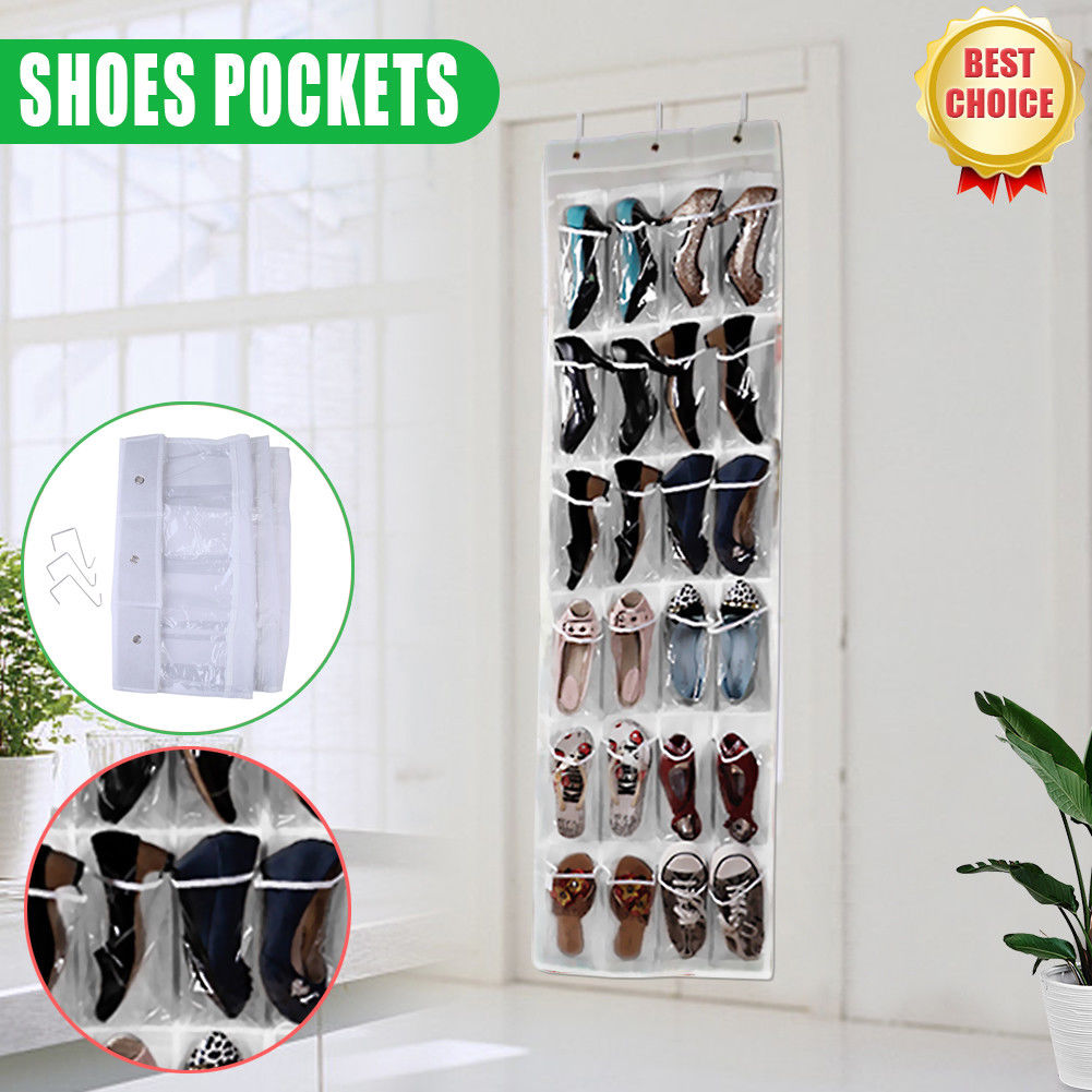 24 Pocket Wall Door Hanging Organizer Shoe Space Storage Rack Bag Closet Holder