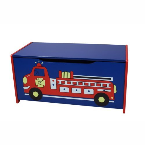 Gift Mark Fire Engine Toy Box with Safety Hinge