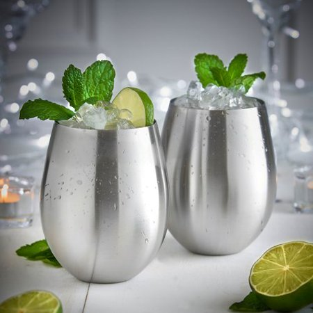 VonShef 14 oz. Stainless Steel Stemless Wine Glass (Set of 2) ()