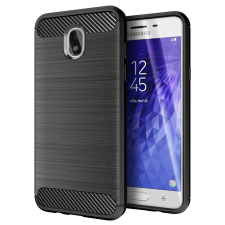Carbon Star Snap - Cimo Carbon Fiber Galaxy J3 2018 Case, J3 Star, J3 V 3rd Gen, J3 Orbit, J3 Achieve, Express Prime 3, Amp Prime 3 Case with Rugged Dual Layer Protection for Samsung Galaxy J3 (2018) - Black