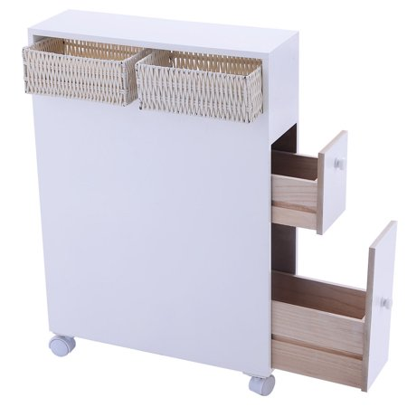 Costway Wood Floor Bathroom Storage Rolling Cabinet Holder Organizer Bath Toilet White