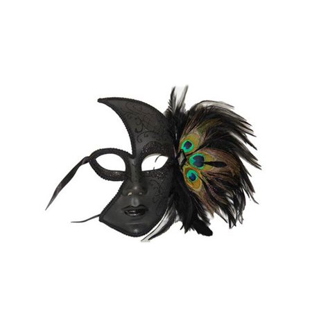 Side Feather Black Half Mask- Mardi Gras - Feather Half Masks