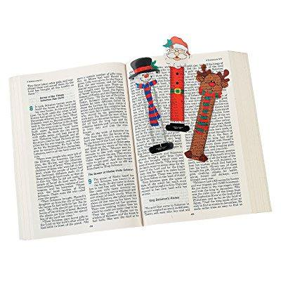24 christmas character bookmarks/santa/snowman/reindeer/party favors/holiday stocking stuffers/2 dozen/5.25 by - Snowman Favors