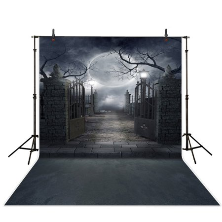 MOHome Polyster 5x7ft Halloween Theme Photography backdrop background Modern art cemetery gate full moon photo studio prop - Halloween Themed Art