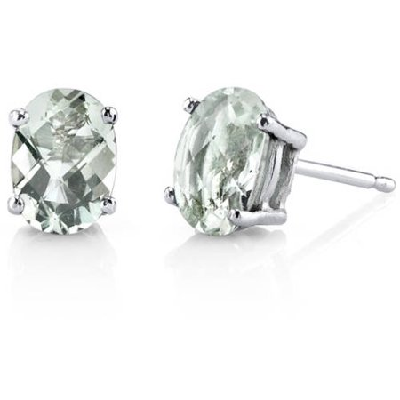 - 1.50 Carat T.G.W. Oval-Cut Green Amethyst 14kt White Gold Stud Earrings