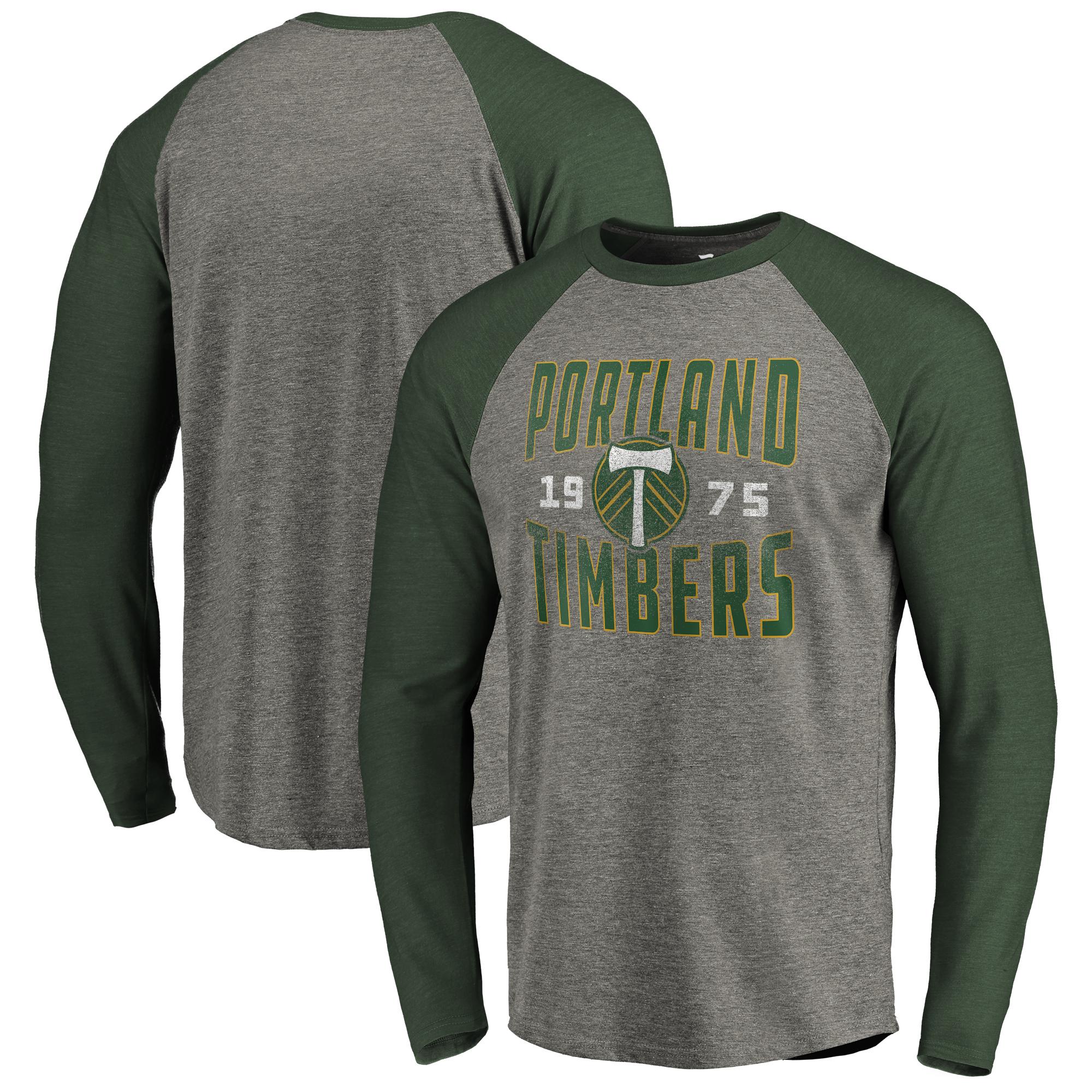 Portland Timbers Fanatics Branded Antique Stack Long Sleeve Tri-Blend Raglan T-Shirt - Heathered Gray