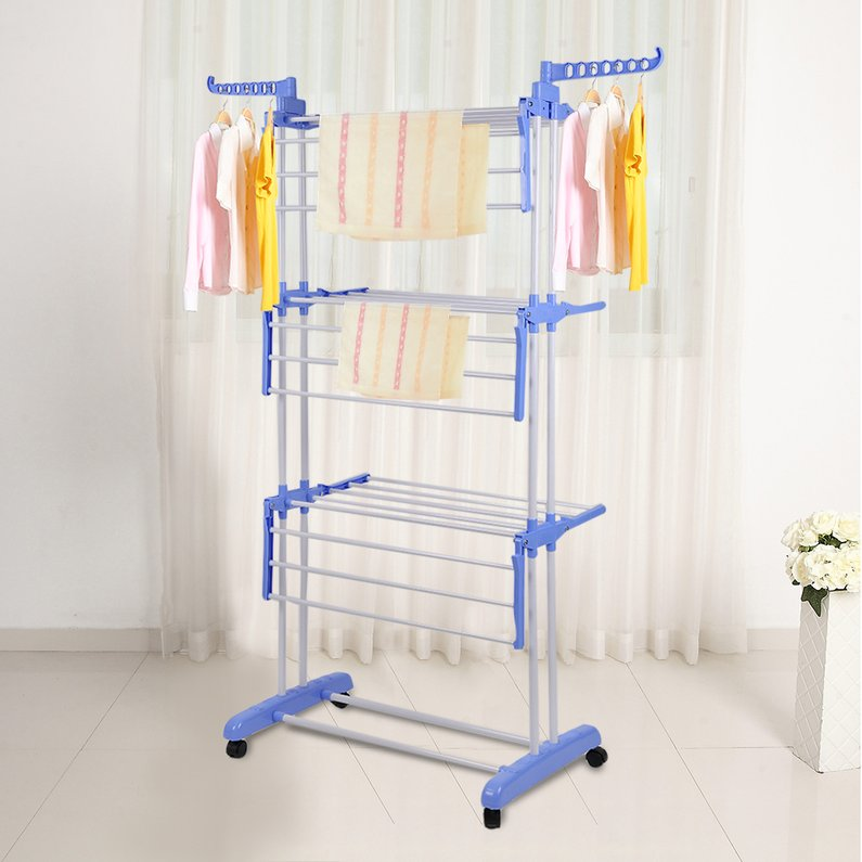 Hot Sale Multifunctional Indoor Outdoor Folding Laundry Storage Rack Clothes Drying Rack Dryer Garment Hanger Stand(Blue)