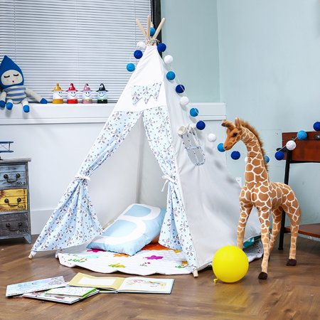 Kids Tent Teepee Play Indoor Outdoor Playhouse Canvas House Hut Blue Panda