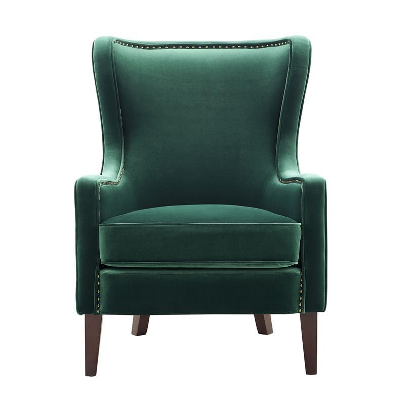 Steve Silver Rosco Modern Wingback, Green Velvet Wing Chair