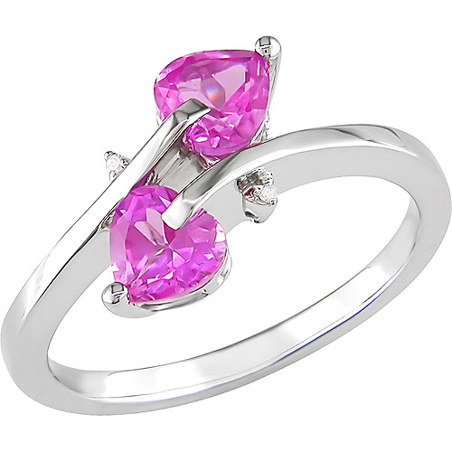Tangelo 1 Carat T.G.W. Created Pink Sapphire and Diamond Accent Ring in Sterling Silver