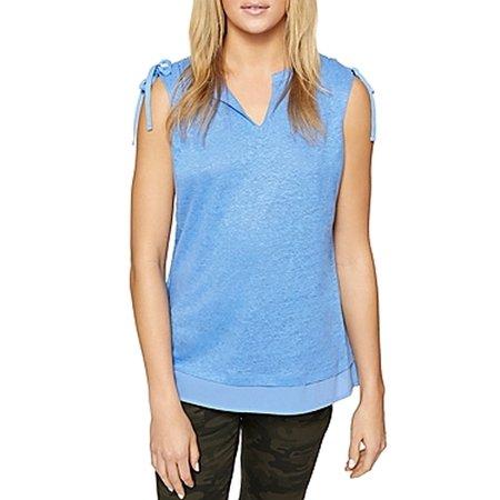 Womens Large Split Neck Tie Sleeve T Shirt Top L