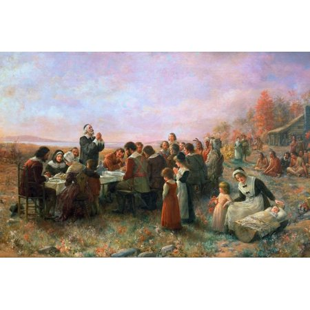 The First Thanksgiving Fall Meal between Pilgrims and the Wampanoag at Plymouth Colony Print Wall Art By Jennie Augusta