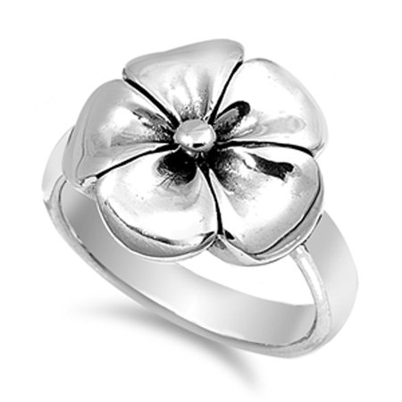 Hawaiian Tropical Plumeria Flower Ring New .925 Sterling Silver Band Size 7