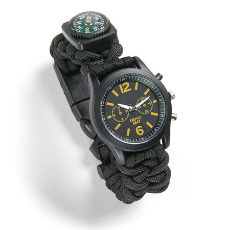 - Emergency Survival 6-in-1 Paracord Outdoor Hiking Watch with Compass, Fire Starter, and Analog Watch and Safety Whistle