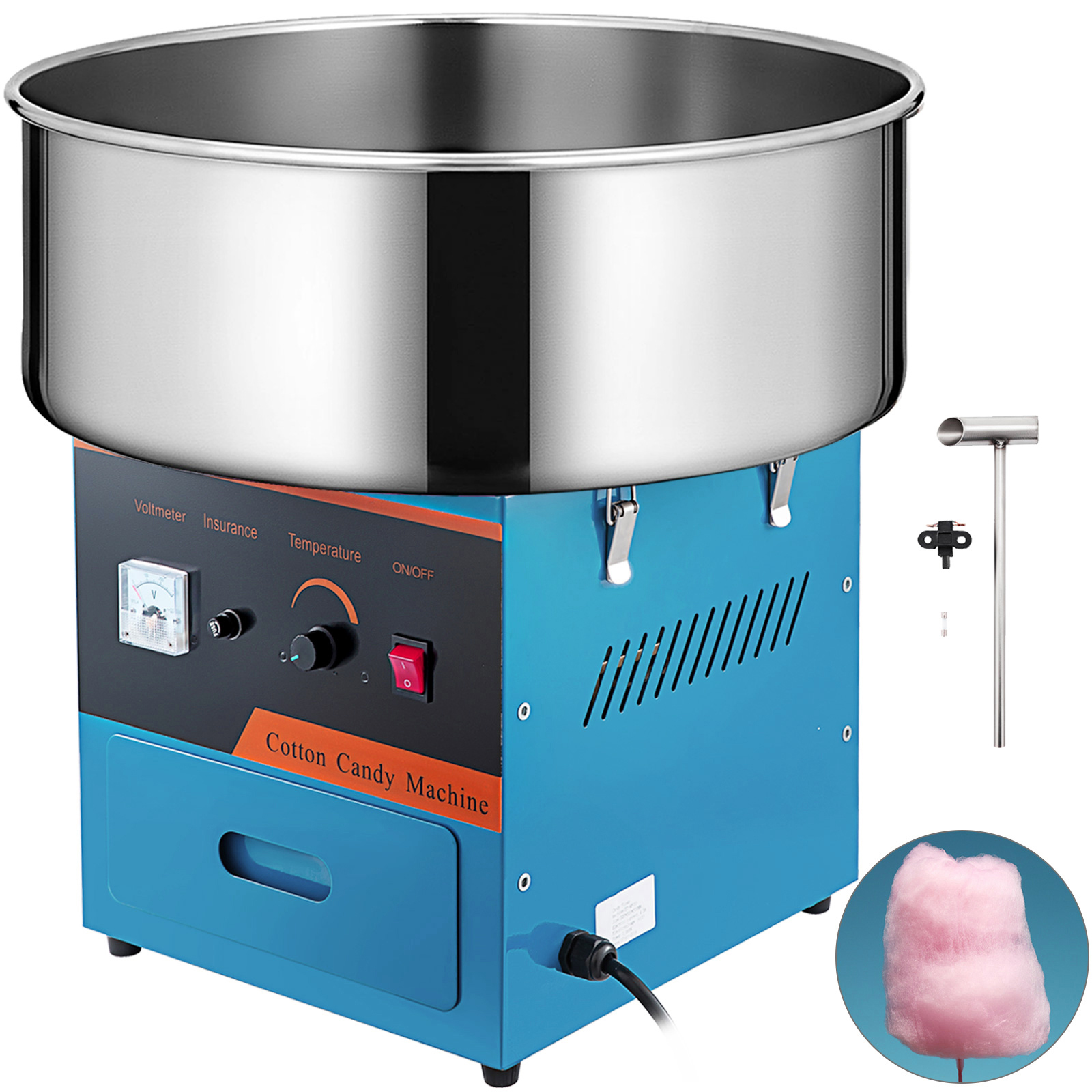 Details about  /VEVOR Blue Electric Commercial Cotton Candy Machine StandFloss Maker 1030W