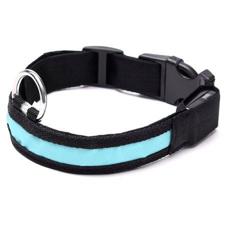medium LED Light Up Dog Collar Nylon Pet Night Safety Bright Flashing Adjustable NEW - image 4 de 5