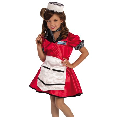1950'S Checkers Diner Girl Waitress Child Decades Halloween Costume-L](50's Diner Waitress Halloween Costume)