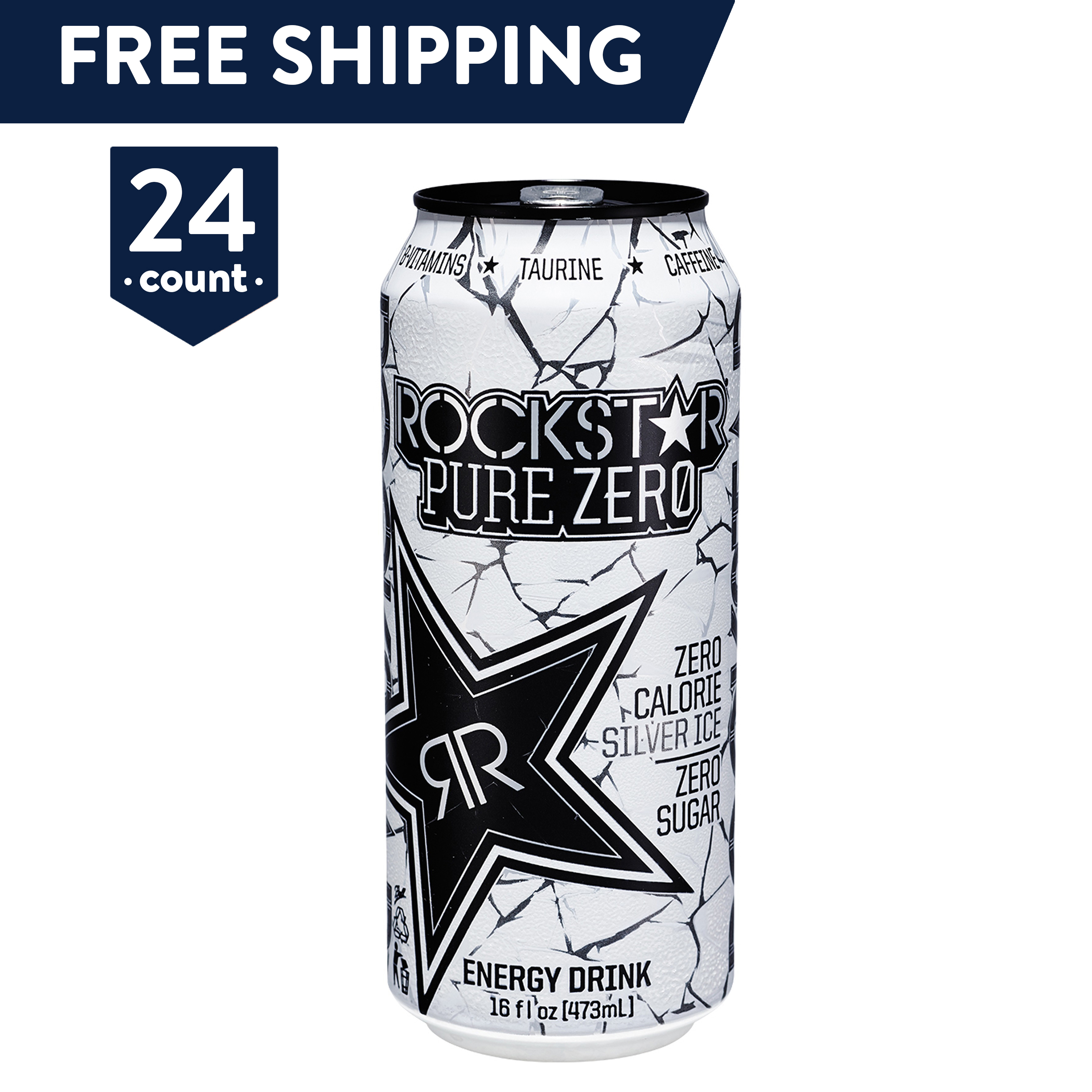 Rockstar Pure Zero Energy Drink, Silver Ice, 16 oz Cans, 24 Count